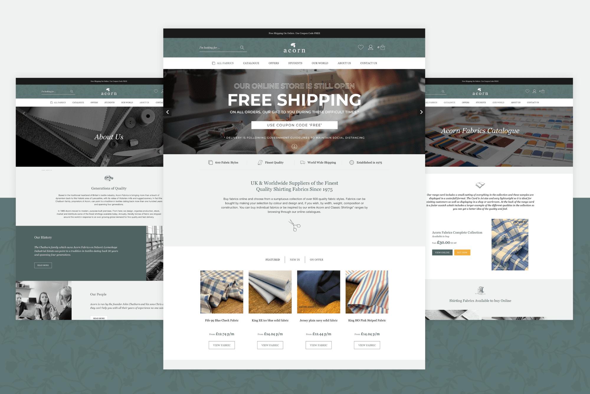 Acorb Fabrics - WooCommerce Website